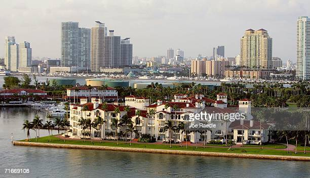 The exclusive Fisher Island community is seen near the city of Miami which is undergoing a tremendous building boom August 17 2006 in Miami Florida...