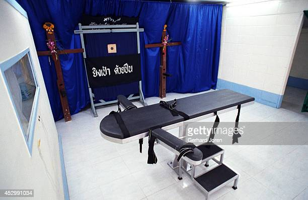 The execution building at Bang Kwang Central Prison Inmates were kneeled down and tied to a wooden cross and the executer then shot them in the back...