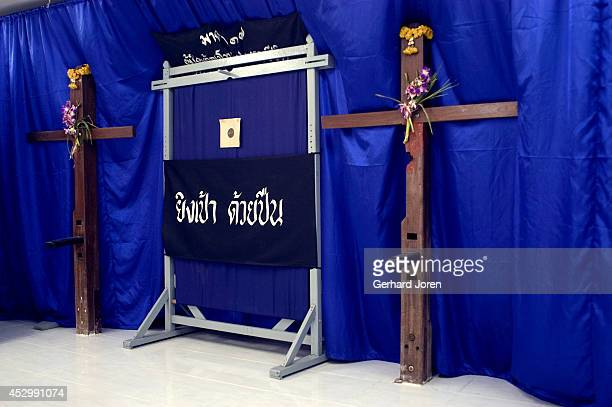 The execution building at Bang Kwang Central Prison Inmates were kneeled down and tied to a wooden cross the executer then shot them in the back with...