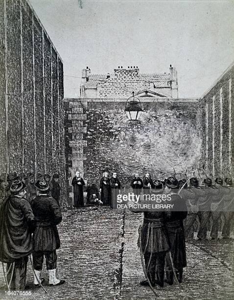 The execution by firing squad of Archbishop Darboy bishop of Paris and other prelates May 24 engraving City of Paris France 19th century Paris Hôtel...