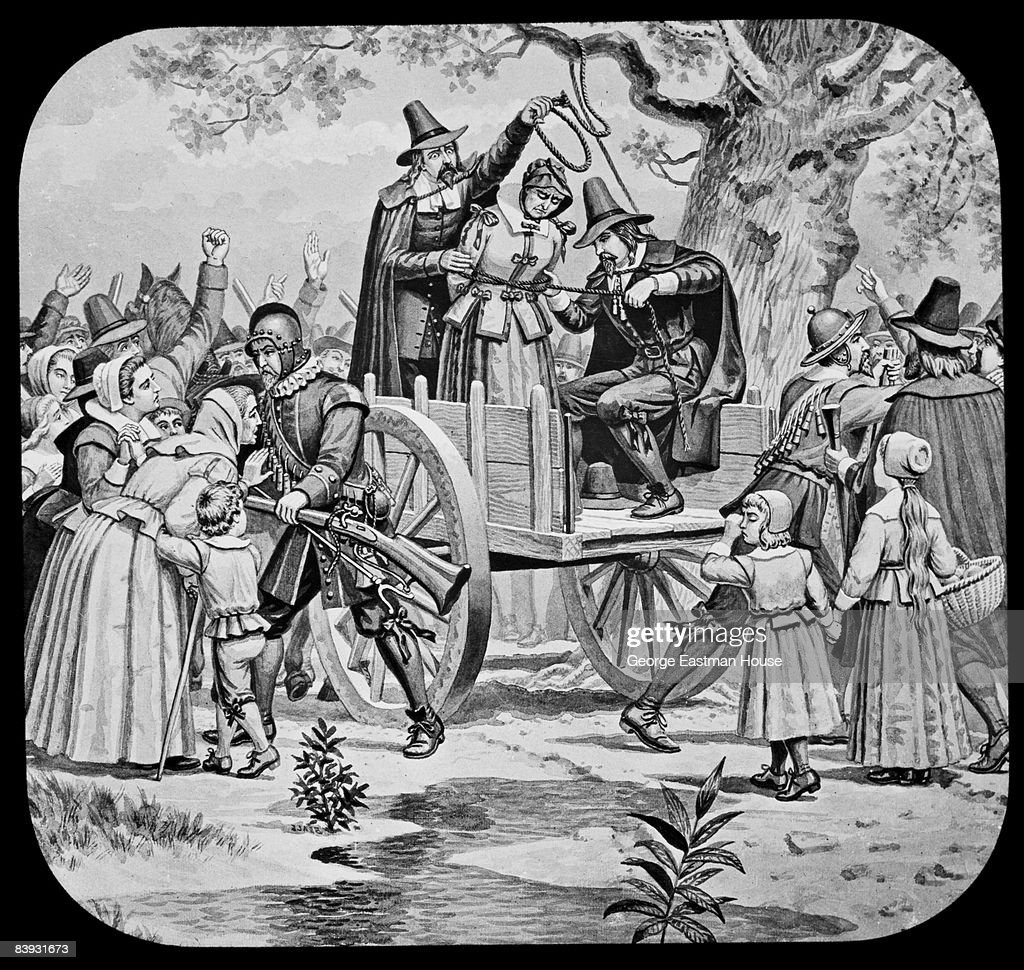 The execution of Bridget Bishop (ca.1632 - 1692), the first woman executed on charges of witchcraft at Salem, 1692