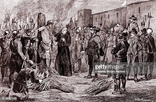 The execution of Inca by A.B. Greene. The Spaniards burnt Atahualpa at the stake with a monk presiding holding crucifix to the right. Atahualpa was...