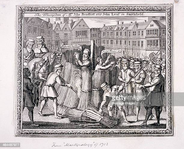The execution of John Bradford and John Leaf at Smithfield The execution took place during the Protestants' persecution in the reign of Mary I