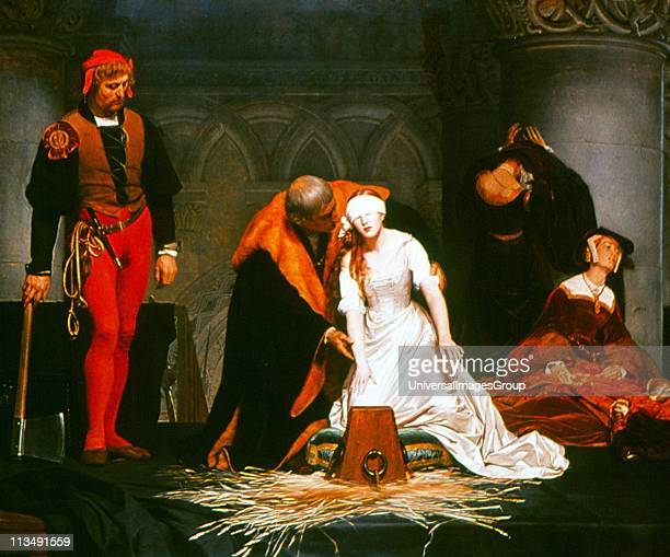The Execution of Lady Jane Grey' painting by Paul Delaroche 'The Nine Days Queen' a granddaughter of Henry VII after the death the Protestant Edward...