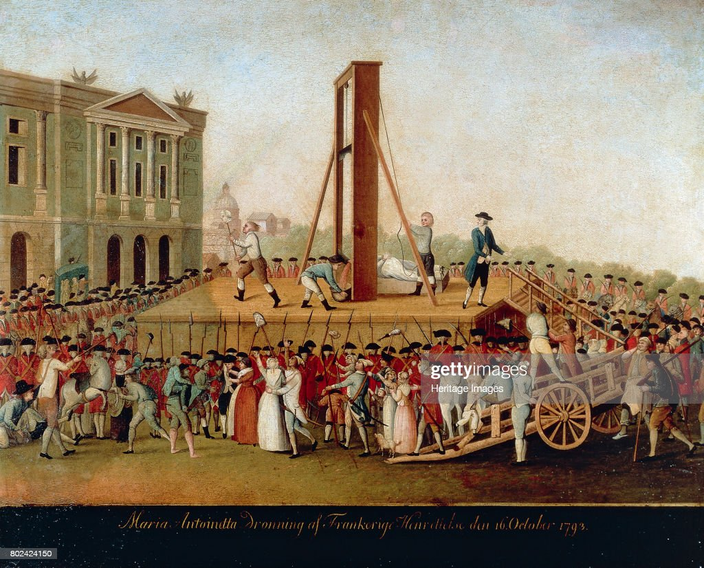 One of the most famous victims of the guillotine, Marie Antoinette, widow of King Louis XVI was executed in Paris on 16 October 1793
