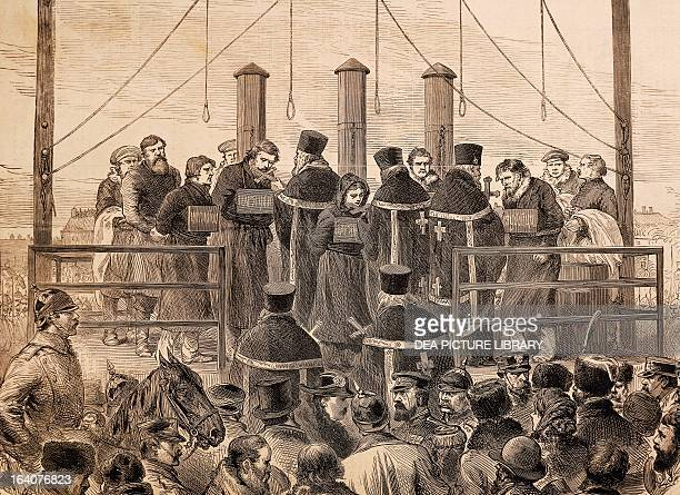 The execution of the bombers who killed Tsar Alexander II of Russia Romanov engraving Russia 19th century