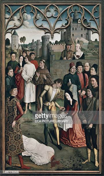 The Execution of the Innocent Count left panel of a diptych Justice of the Emperor Otto 14701475 by Dieric Bouts the Elder panel 324x182 cm Brussels...
