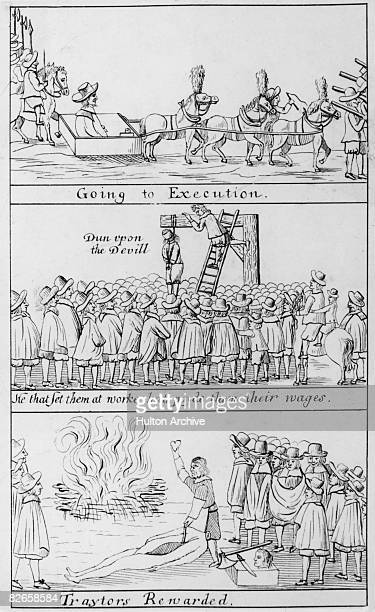The execution of the Regicides of King Charles I, following the restoration of the monarchy, 19th October 1660. Parliamentary soldiers Francis Hacker...