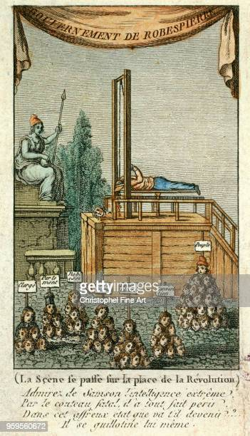 The executioner guillotines itself satirical engraving against Robespierre 1794 Anonymous Musee Carnavalet France