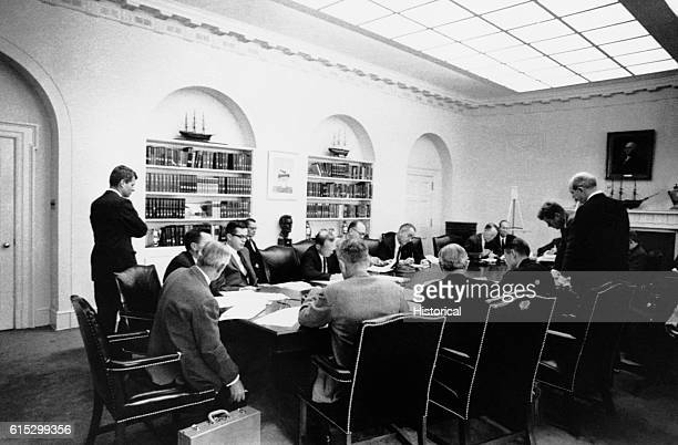 The Executive Committee of the National Security Council meets in the cabinet room during the Cuban Missile Crisis.