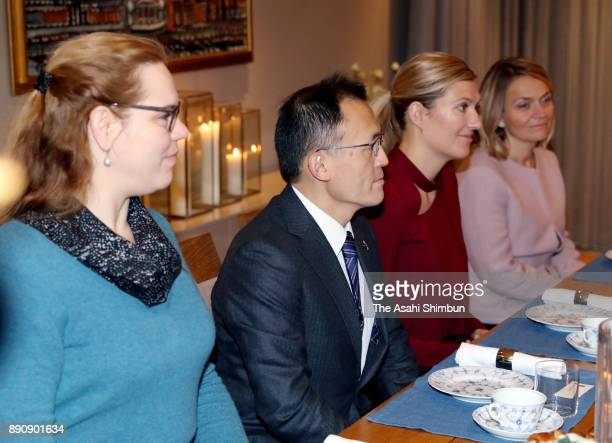 The Executive Director Beatrice Fihn and Akira Kawasaki of the International Campaign to Abolish Nuclear Weapons are seen during their meetinw with...