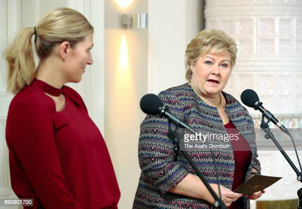 The Executive Director Beatrice Fihn of the International Campaign to Abolish Nuclear Weapons and Norwegian Prime Minister Erna Solberg talk during a...