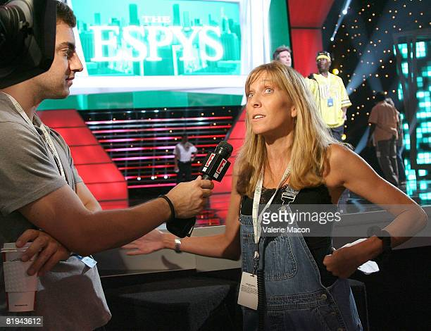 The executive producer Maura Mandt answers journalists during the preparation of the 2008 Epsy Awards at the Nokia Theater on July 15 2008 in Los...