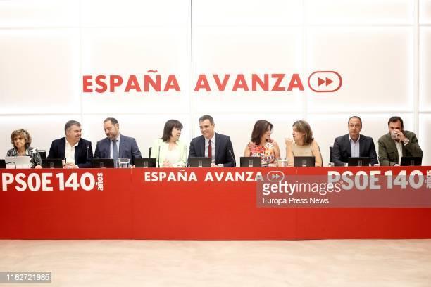 The executive secretary of Territorial Coordination of the CEFPSOE Santos Cerdán the secretary of the Organization Area of the PSOE José Luis...