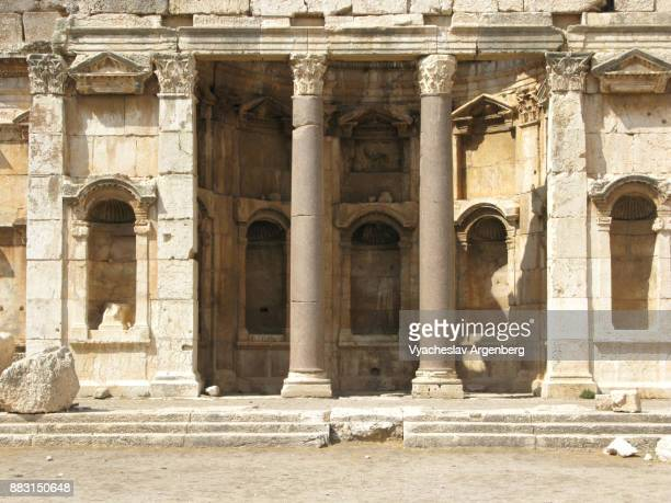 the exedra around the great court, roman heliopolis, baalbek - argenberg stock pictures, royalty-free photos & images