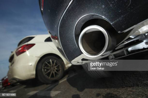The exhaust pipe of a parked diesel car is seen on February 21 2018 in Berlin Germany The German Federal Court of Justice in Leipzig is due to rule...