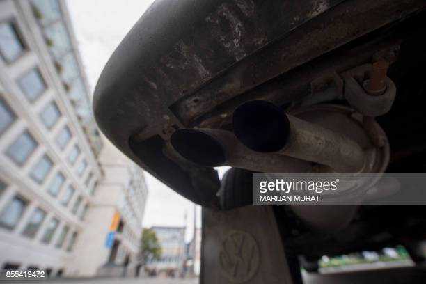 The exhaust pipe of a Volkswagen commercial vehicle is pictured in Stuttgart southern Germany on September 28 2017 Volkswagen said on September 29...