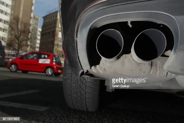 The exhaust pipes of a parked diesel car are seen on February 21 2018 in Berlin Germany The German Federal Court of Justice in Leipzig is due to rule...