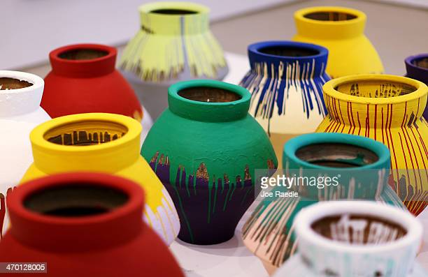The exhibit by artist Ai Weiwei 'According To What' is seen at the Perez Art Museum Miami on February 18 2014 in Miami Florida On Sunday February 16...