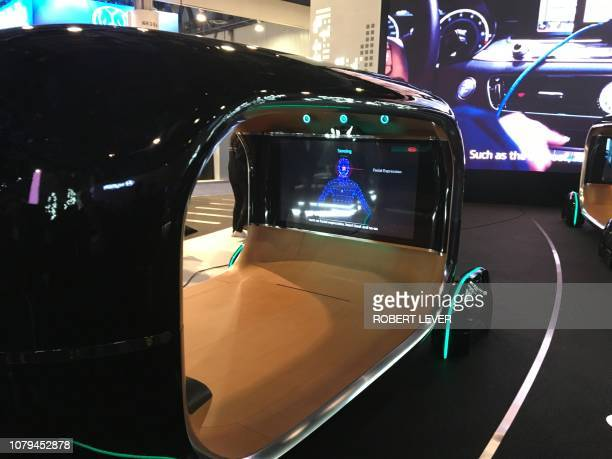 The exhibit of South Korean automaker Kia at CES 2019 in Las Vegas on January 8 shows Kia's new Realtime Emotion Adaptive Driving described as an...