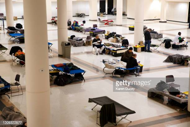 The Exhibition Hall at the Seattle Center has been turned into a temporary men's shelter on April 6, 2020 in Seattle, Washington. The space currently...