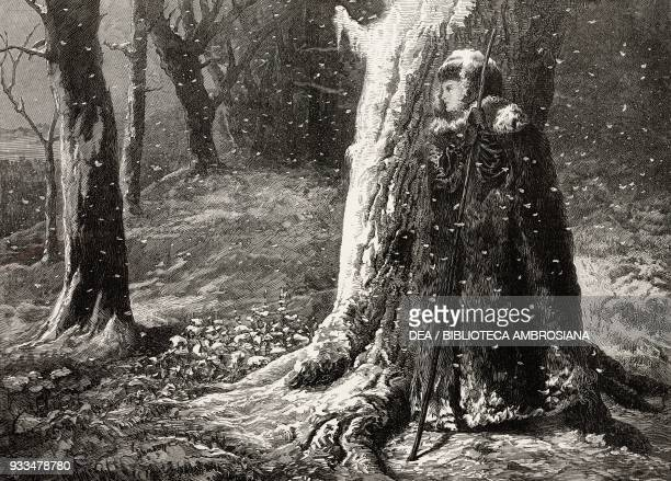 The exile of Siberia in sight of St Petersburg a woman in the forest by George Elgar Hicks illustration from the magazine The Illustrated London News...