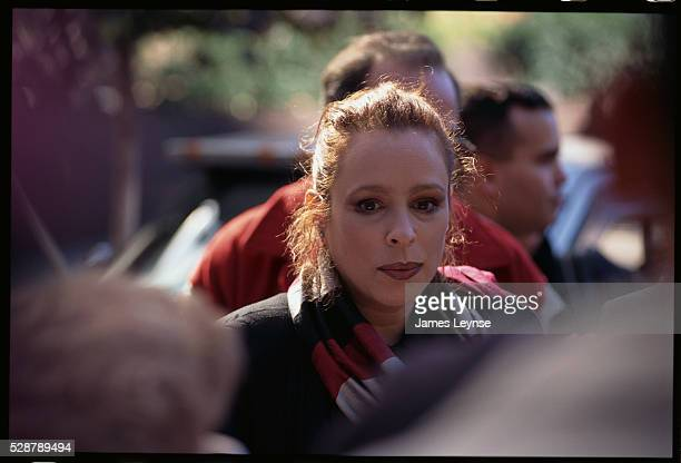 The exiled daughter of Fidel Castro attends an anti-Castro demonstration.