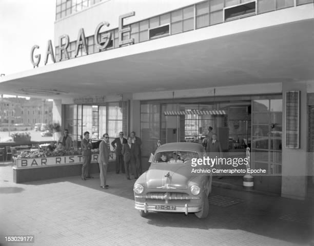 The exit of the Autorimessa Piazzale Roma a garage in Piazzale Roma Venice Italy circa 1950
