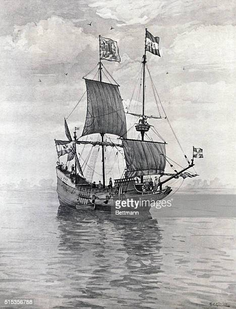 The explorer Henry Hudson's ship Half Moon in which he explored the Hudson River regions in the 17th Century