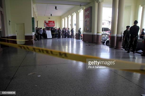 The explosion area at Hua Lamphong train station in Bangkok A small explosion at Bangkok's Hua Lamphong train station injured two people Explosive...