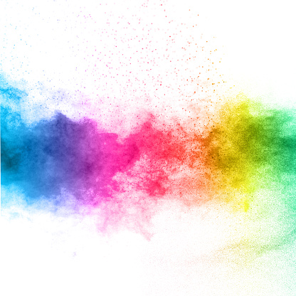 The explosion of multi colored powder. Beautiful rainbow color powder fly away. The cloud of glowing color powder on white background 895042448