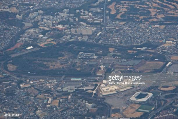 The Expo'70 Commemorative Park and Osaka University aerial view from airplane