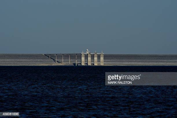 The exposed dam wall of the San Luis reservoir which is at only 21percent capacity as a severe drought continues to affect California on September 23...