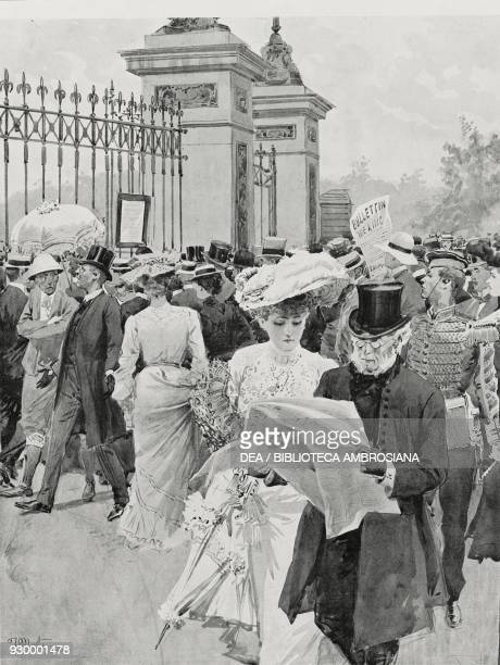 The exposure of the medical bulletin of Edward VII sick with appendicitis in front of Buckingham Palace London England life drawing by Fortunino...