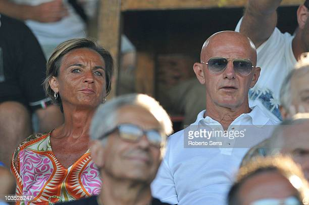 the expresident of Bologna FC Francesca Menarini on stadium with the ex headcoach of Italy Arrigo Sacchi during the PreSeason Friendly match between...