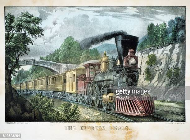 The Express Train Locomotive with cowcatcher hauls train through cutting Print published by Currier Ives New York 1870 Lithograph