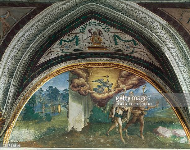 The Expulsion of Adam and Eve fresco by an unknown 16th century artist Hall of Creation Palazzo Besta Teglio Italy 15th century