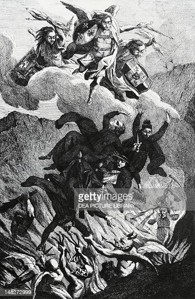 The expulsion of Jesuits from the leading Catholic Countries three armed angels bearing the symbols of Spain France and Portugal the Jesuits being...