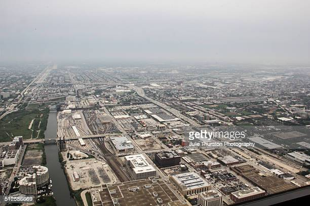 The Extensive Public Train Rail Tracks and Commuter Transit Rail Transportation System in Downtown Chicago Illinois as Viewed From the Top Aerial of...