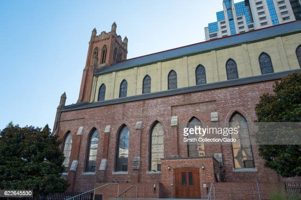 The exterior and entrance on the side of St Patrick's Catholic Church in San Francisco California September 4 2016
