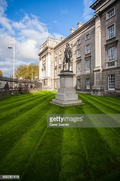 The exterior area of Trinity College at College Green in Dublin City, Ireland