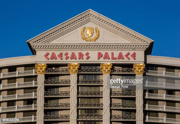 The exterior entrance to Caesars Palace Hotel Casino is viewed on March 2 2018 in Las Vegas Nevada Millions of visitors from all all over the world...