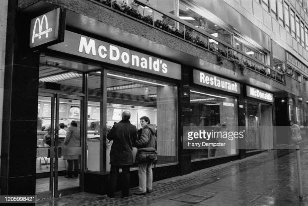 The exterior of a branch of McDonalds during a visit by Bow Street Magistrate Ronald Bartle in London England 25th January 1985