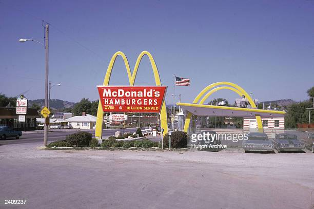 The exterior of a McDonald's fast food restaurant is shown in this August 1970 photo The Speedee McDonald's in Downey California named for the...