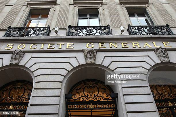 NOVEMBER 21 The exterior of a Societe Generale branch on November 21 2012 in Paris France Moody's Investors Service has downgraded France stripping...
