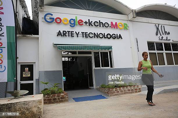 The exterior of a studio that Google and Alexis Leiva Machado a Cuban sculptor known as Kcho is seen where the technology company and artist have...