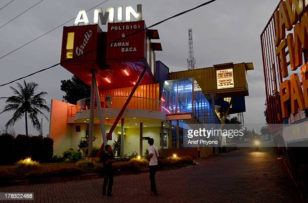 The exterior of a unique library building 'AMIN' which is constructed out of seven cargo containers and is designed to be a comfortable space on the...