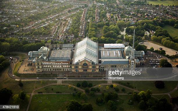 The exterior of Alexandra Palace and the surrounding gardens of Alexandra Park are seen in this aerial photograph taken over London UK on Tuesday...