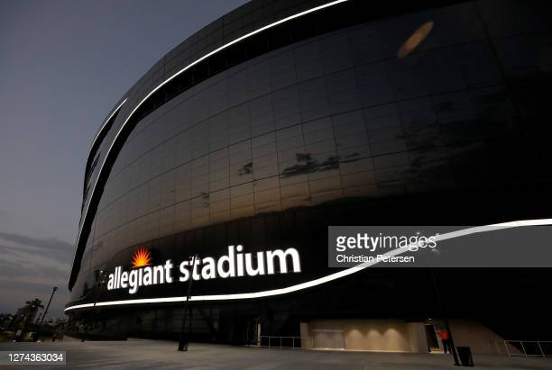 The exterior of Allegiant Stadium is seen during the game between the Las Vegas Raiders and the New Orleans Saints at Allegiant Stadium on September...