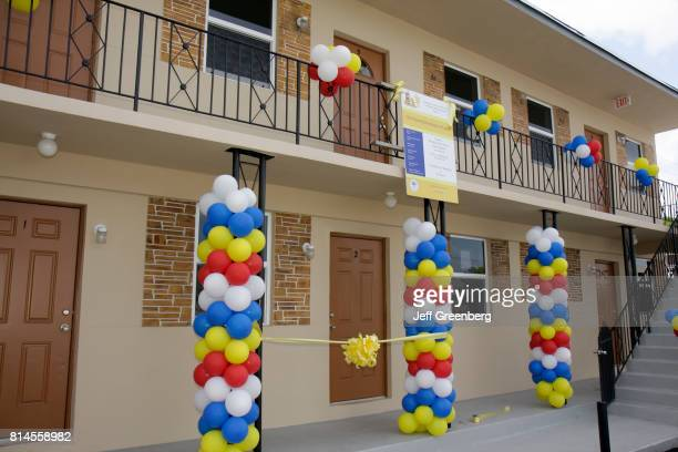 The exterior of an apartment building at the Rehabilitated Affordable Housing Ribbon Cutting Ceremony